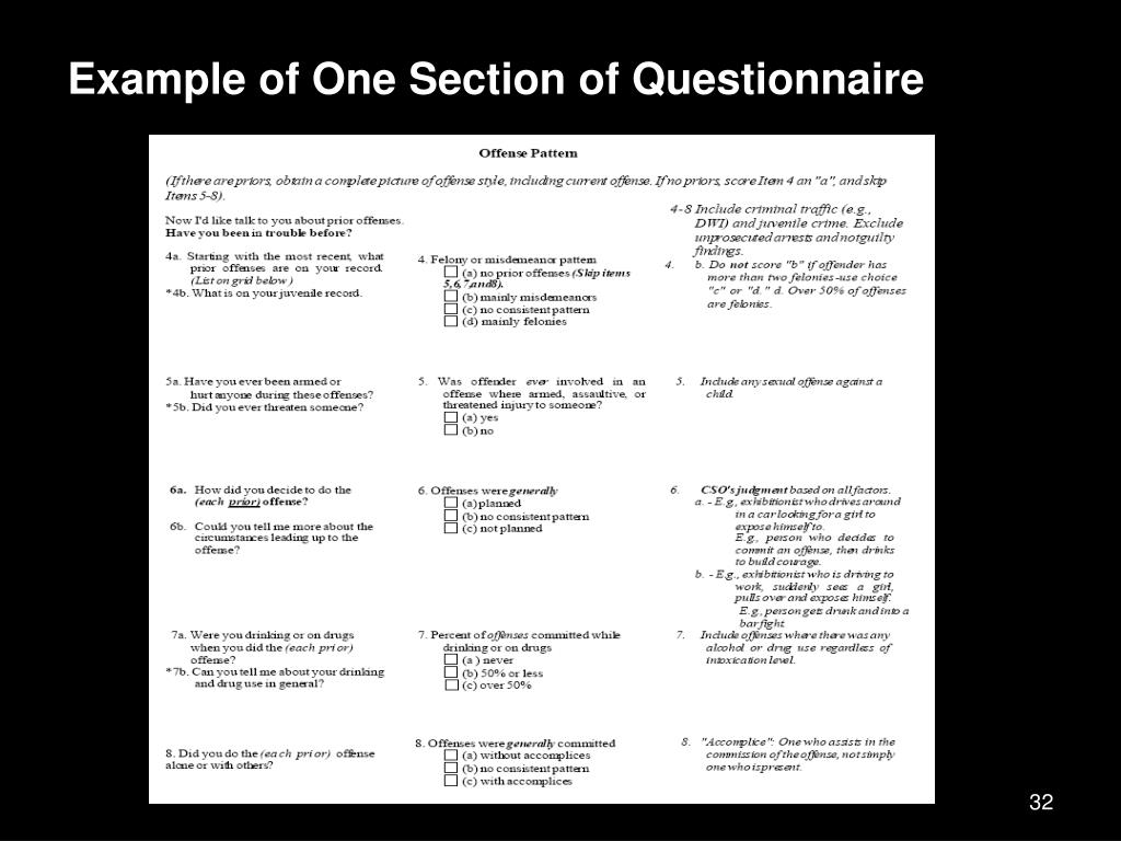 Example of One Section of Questionnaire