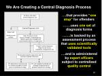 we are creating a central diagnosis process