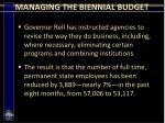 managing the biennial budget16