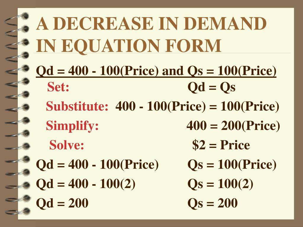 A DECREASE IN DEMAND IN EQUATION FORM