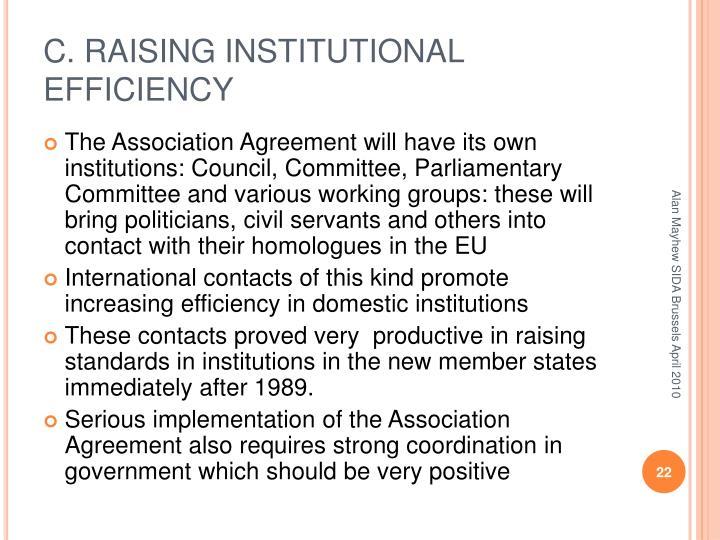 C. RAISING INSTITUTIONAL EFFICIENCY