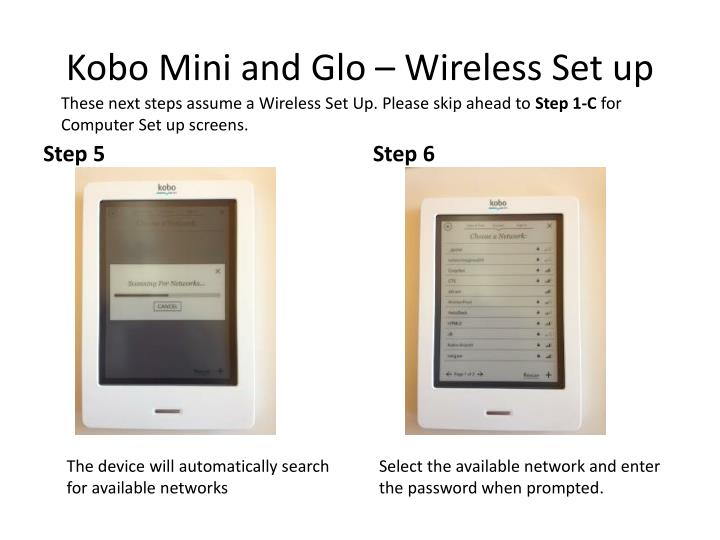 how to connect kobo mini to computer