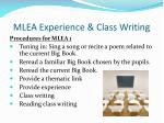 mlea experience class writing