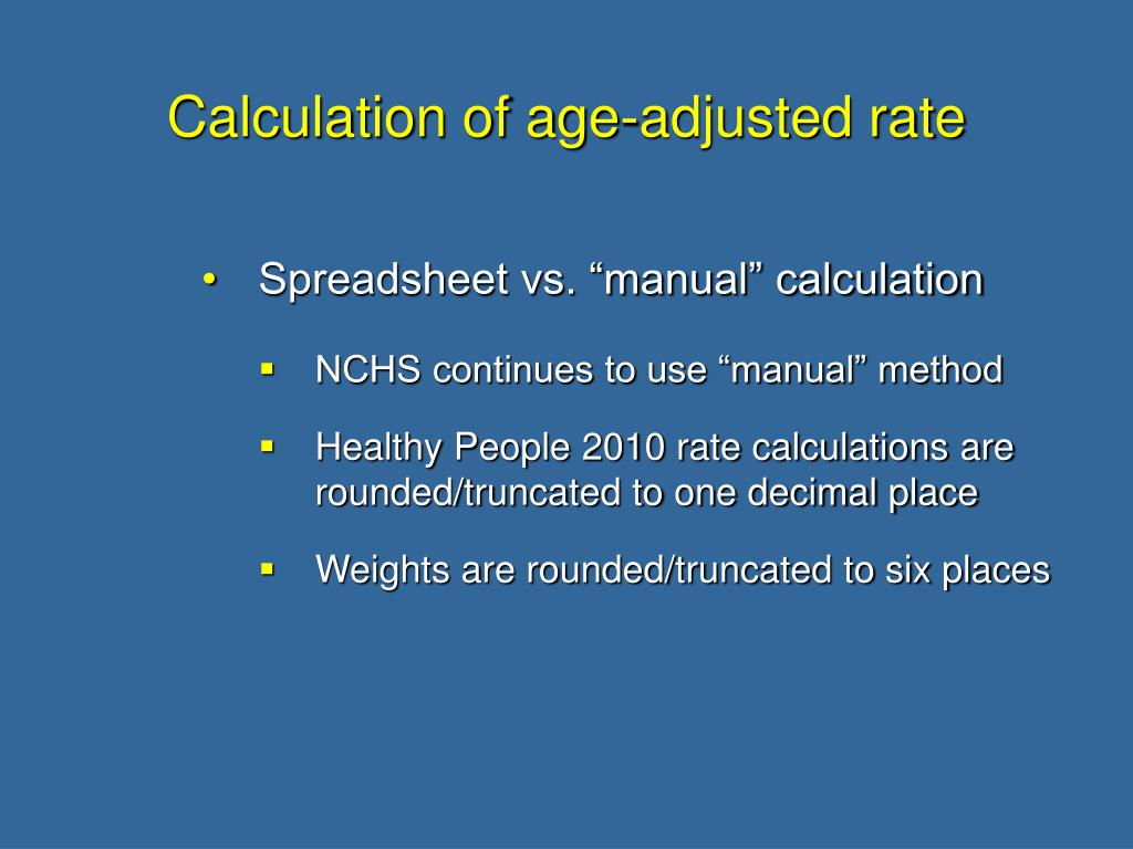 Calculation of age-adjusted rate