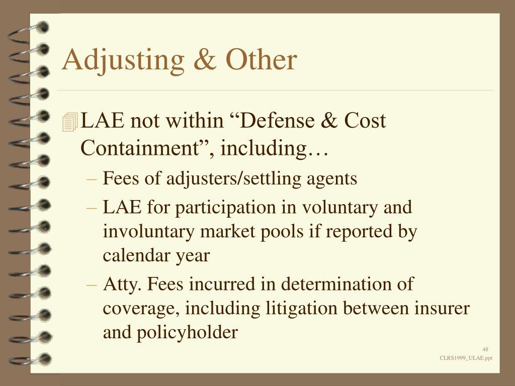 Adjusting & Other