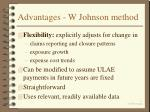 advantages w johnson method