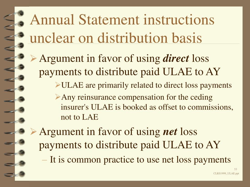 Annual Statement instructions unclear on distribution basis