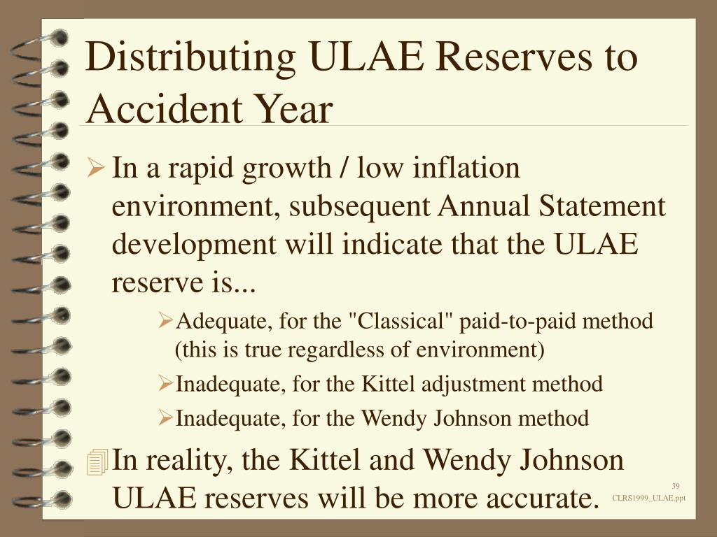 Distributing ULAE Reserves to Accident Year