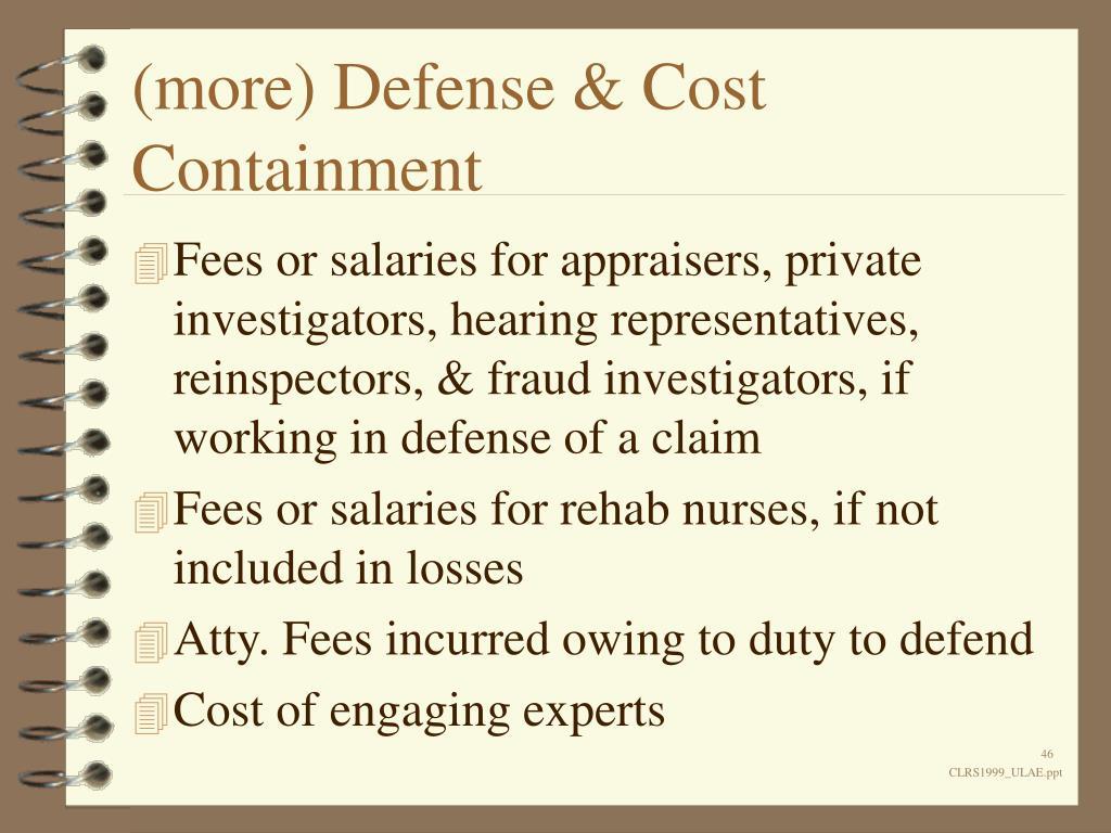 (more) Defense & Cost Containment