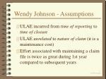 wendy johnson assumptions