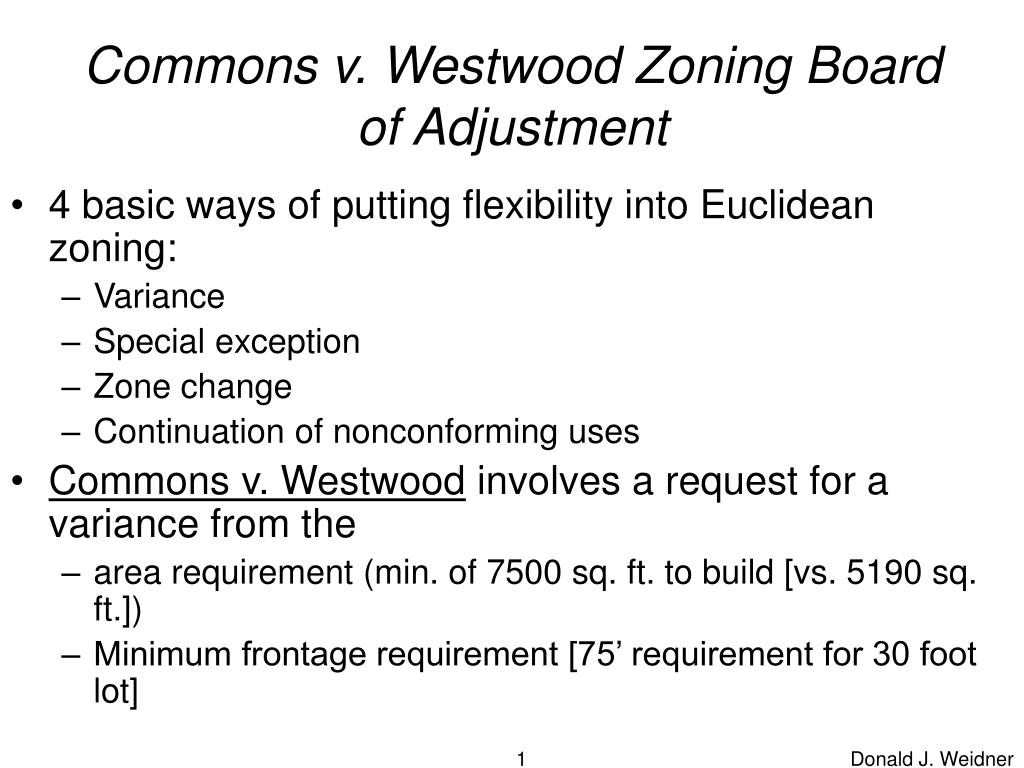 commons v westwood zoning board of adjustment