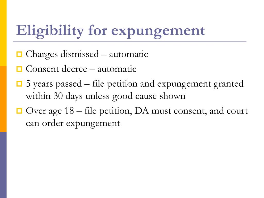Eligibility for expungement
