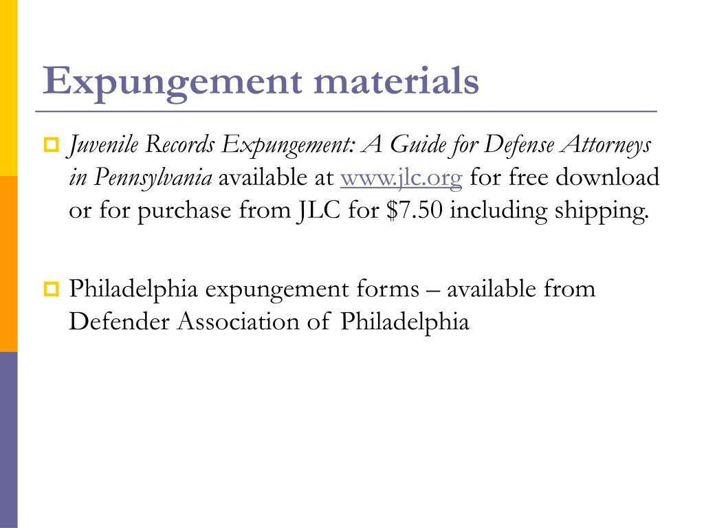 Expungement materials