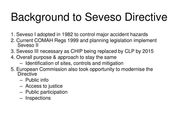 Background to seveso directive