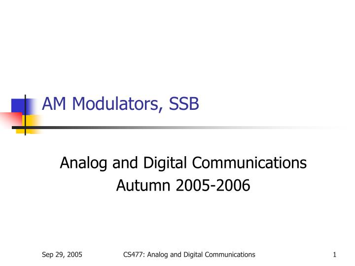 am modulators ssb n.