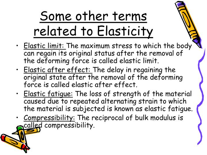 Some other terms related to Elasticity