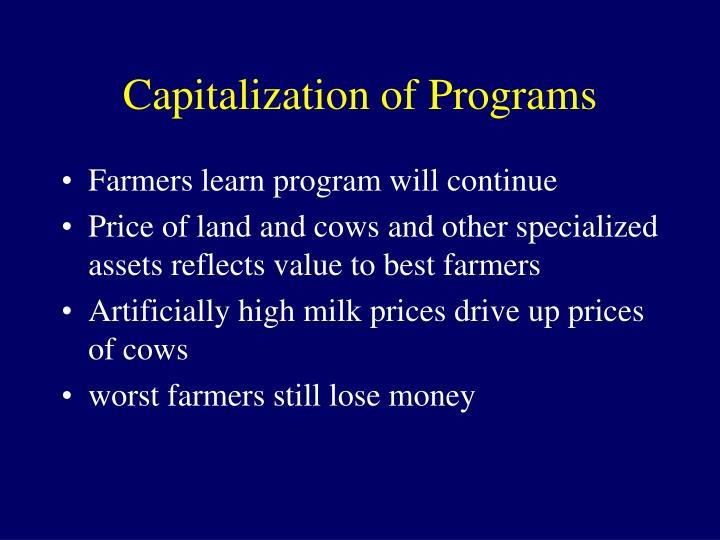 Capitalization of Programs