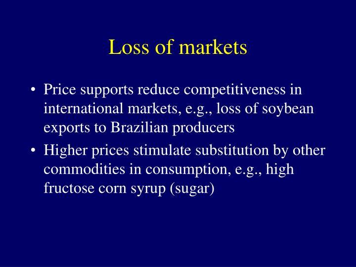 Loss of markets