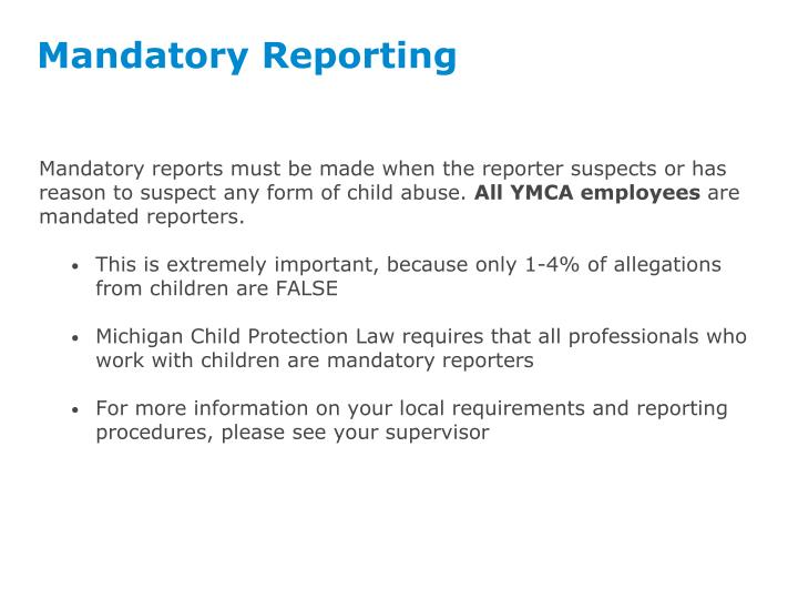 we must report child abuse and neglect In ontario, it is the law to report suspected child abuse or neglect everyone, including members of the public and professionals who work closely with children, is required by law to report suspected cases of child abuse or neglect.