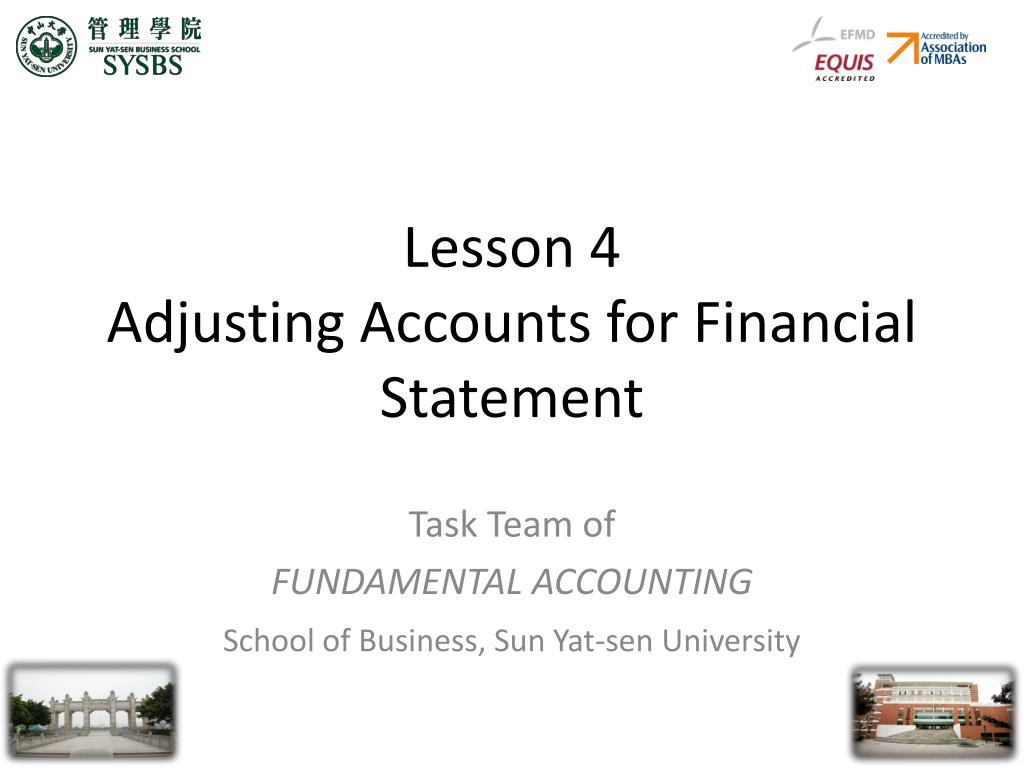 lesson 4 adjusting accounts for financial statement l.