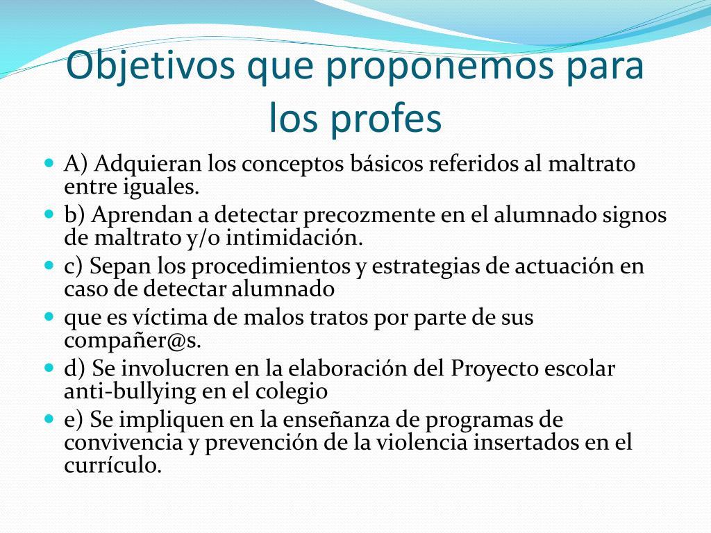 Objetivos que proponemos para los profes