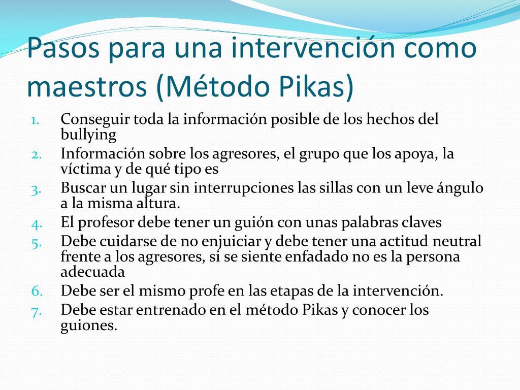 Pasos para una intervención como maestros (Método