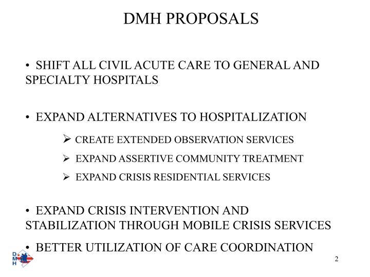 Dmh proposals