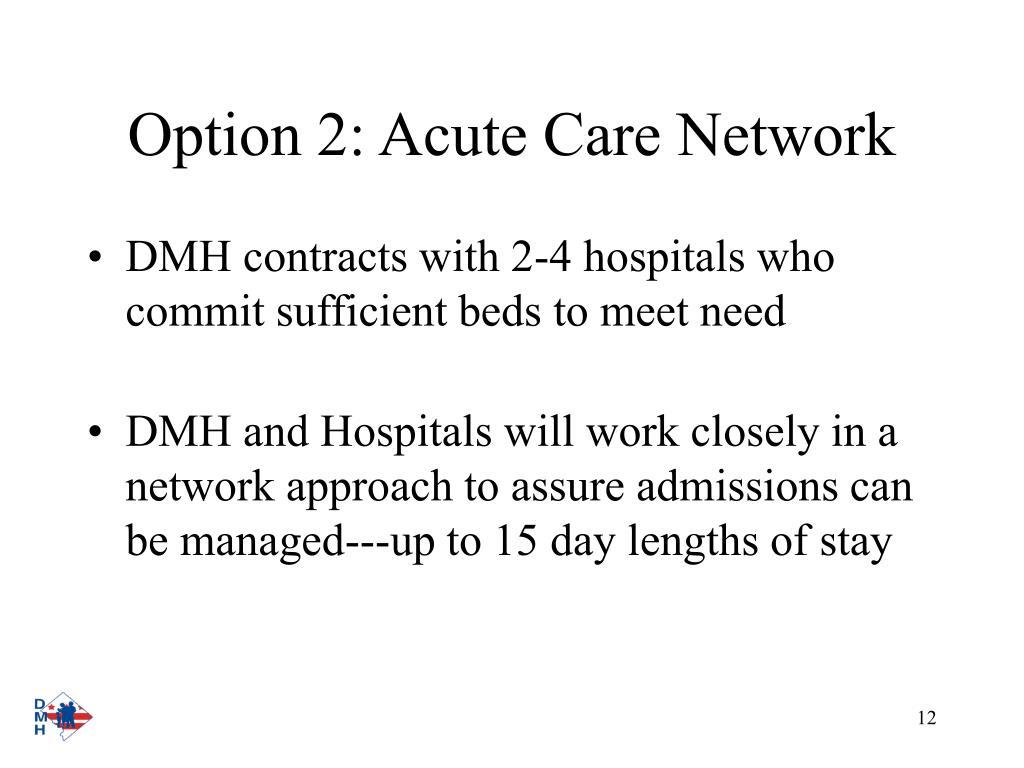 Option 2: Acute Care Network