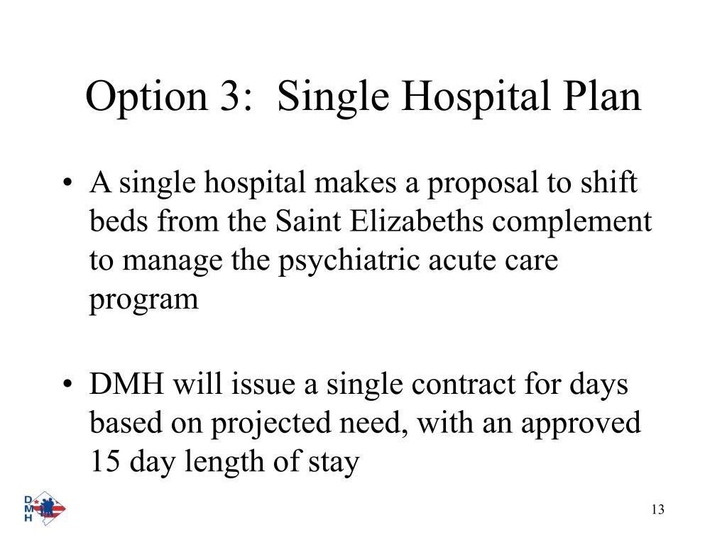 Option 3:  Single Hospital Plan