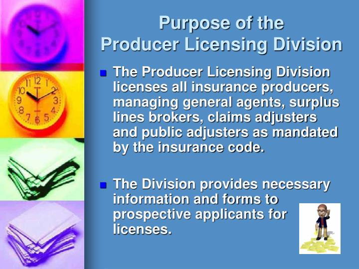 Purpose of the producer licensing division