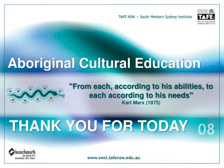 Aboriginal Cultural Education