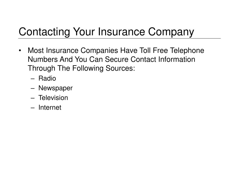 Contacting Your Insurance Company