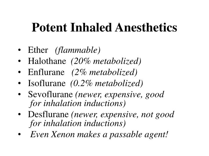 Potent Inhaled Anesthetics