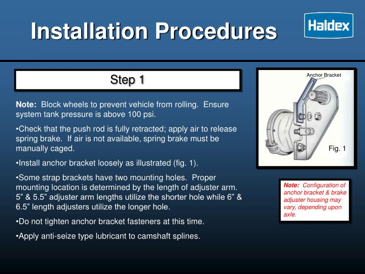 Installation Procedures