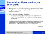 comput ation of basic earnings per share cont