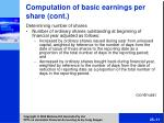 comput ation of basic earnings per share cont11
