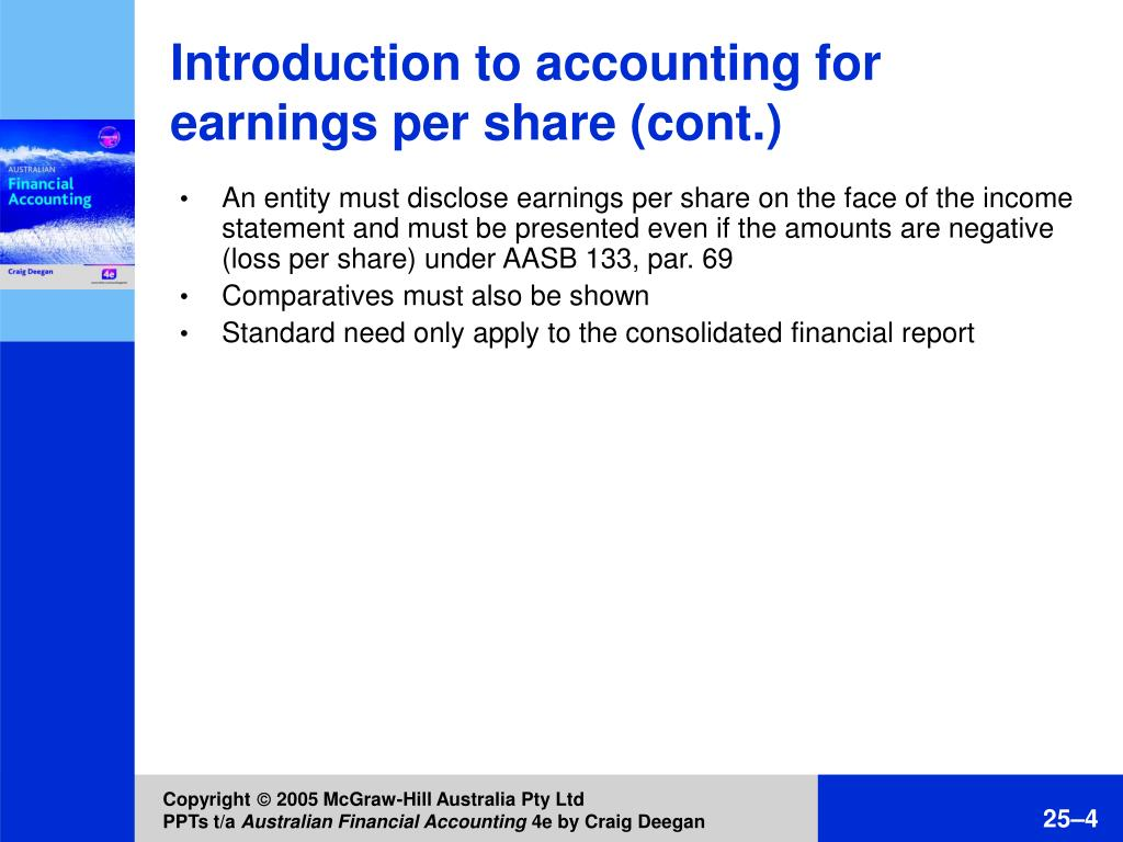 Introduction to accounting for earnings per share (cont.)