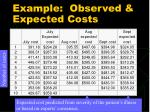 example observed expected costs
