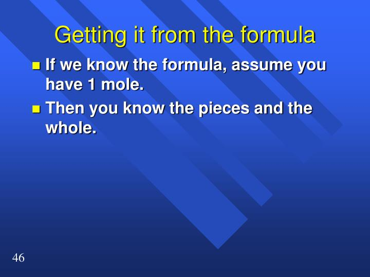 Getting it from the formula