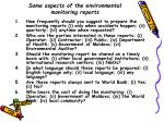 some aspects of the environmental monitoring reports