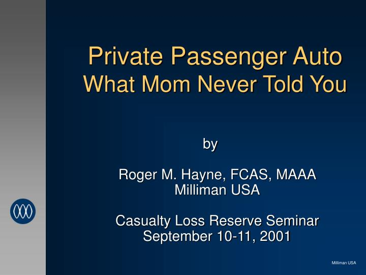 private passenger auto what mom never told you n.