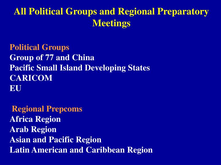 All Political Groups and Regional Preparatory Meetings