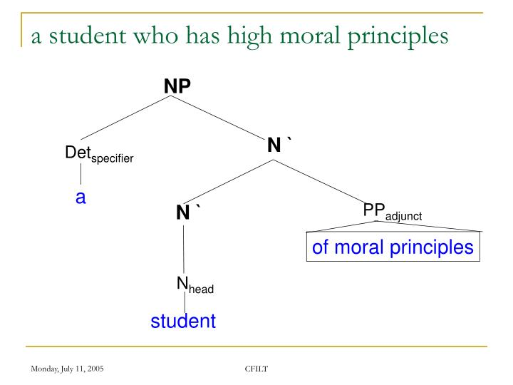a student who has high moral principles