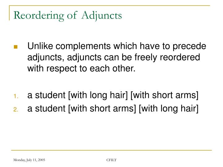 Reordering of Adjuncts