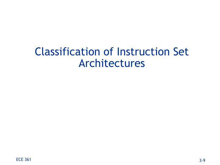 Classification of Instruction Set Architectures