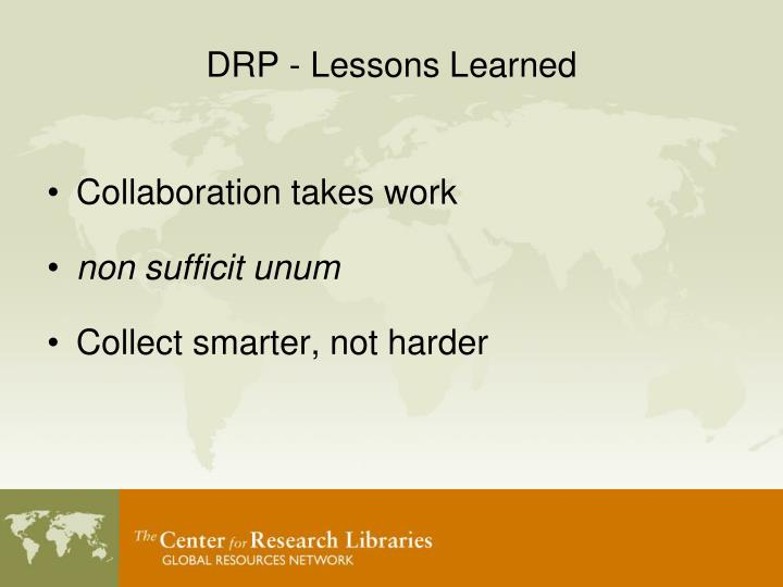 DRP - Lessons Learned