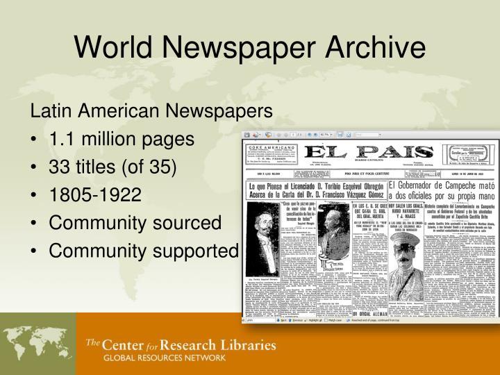 World Newspaper Archive