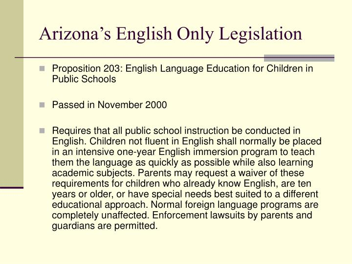 Arizona's English Only Legislation