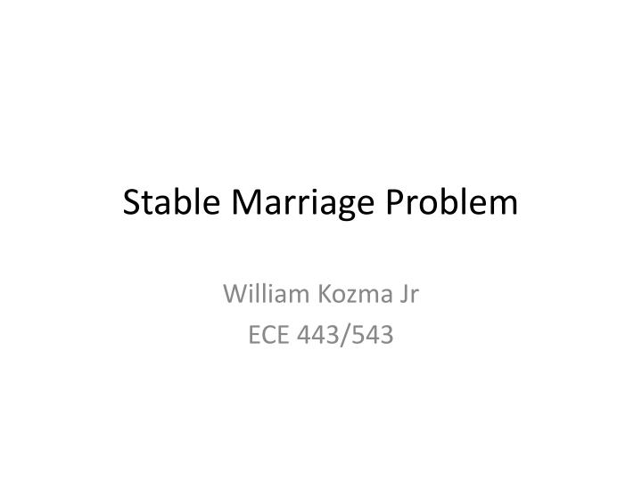 stable marriage problem n.