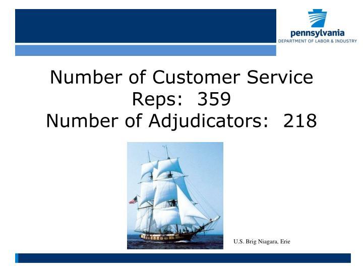 Number of customer service reps 359 number of adjudicators 218